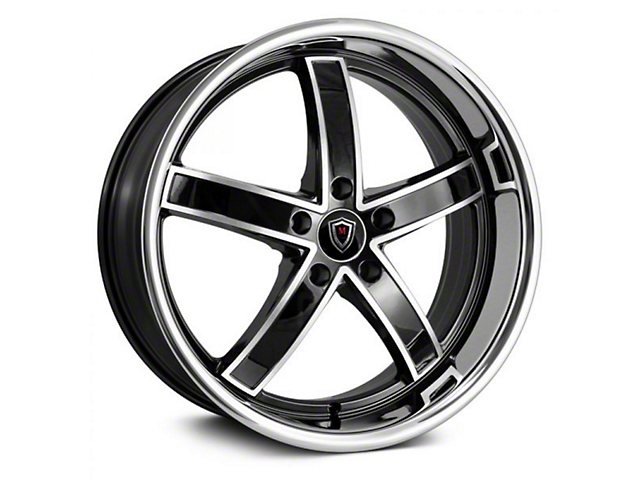 Marquee Wheels M5330 Gloss Black Machined with Stainless Lip Wheel; 20x9 (08-21 All, Excluding AWD, Demon & Hellcat)