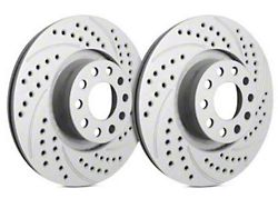 SP Performance Double Drilled and Slotted Rotors with Gray ZRC Coating; Rear Pair (09-21 GT, R/T, T/A; 11-21 SE, SXT w/ Dual Piston Front Caliper)