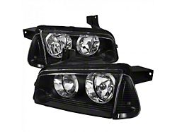 Factory Style Headlights with Corner Lights; Matte Black Housing; Clear Lens (06-10 w/ Factory Halogen Headlights)
