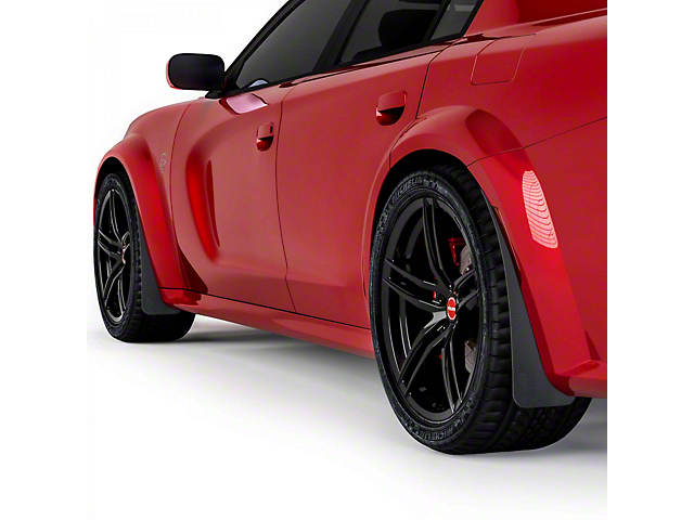 Mud Flaps; Front and Rear; Gloss Carbon Fiber (20-21 Widebody)