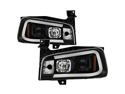 Signature Series LED Light Bar Projector Headlights; Black Housing; Clear Lens (06-10 w/ Factory Halogen Headlights)