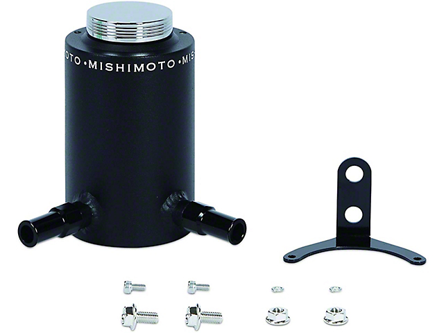Mishimoto Power Steering Reservoir; Aluminum Power Steering Reservoir Tank; Wrinkle Black (Universal Fitment)