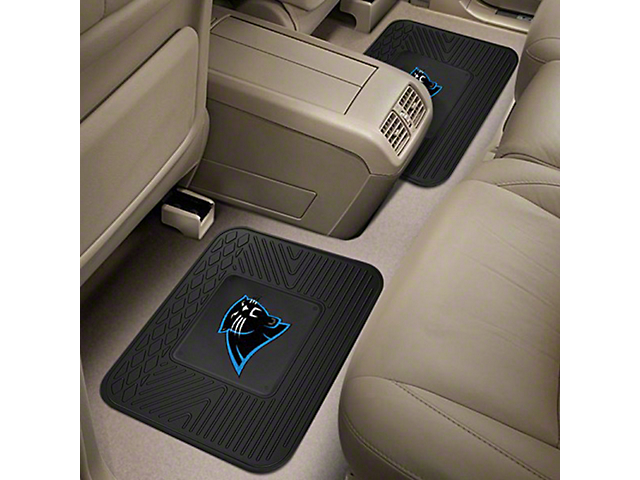 Molded Rear Floor Mats with Carolina Panthers Logo (Universal Fitment)