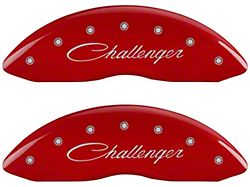 MGP Red Caliper Covers with Cursive Challenger and R/T Logos; Front and Rear (06-10 Daytona R/T, R/T)