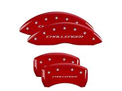 MGP Red Caliper Covers with Challenger Logo; Front and Rear (11-21 R/T & SXT w/ Dual Piston Front Caliper; 15-17 SE AWD w/ Dual Piston Front Caliper; 18-20 Daytona; GT w/ Dual Piston Front Caliper)