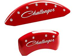 MGP Red Caliper Covers with Cursive Challenger Logo; Front and Rear (11-21 R/T & SXT w/ Dual Piston Front Caliper; 15-17 SE AWD w/ Dual Piston Front Caliper; 18-20 Daytona; GT w/ Dual Piston Front Caliper)