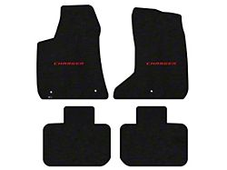 Lloyd Velourtex Front and Rear Floor Mats with Red Charger Logo; Black (11-21 AWD)