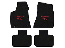 Lloyd Velourtex Front and Rear Floor Mats with Red R/T Logo; Black (11-21 RWD)