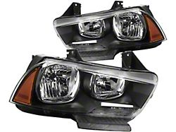 Headlights with Amber Corners; Black Housing; Clear Lens (11-14 w/ Factory Halogen Headlights)