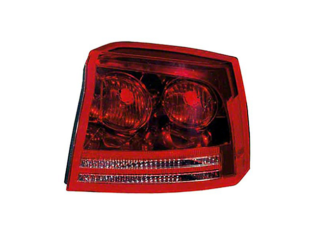Tail Light; Chrome Housing; Red/Clear Lens; Passenger Side; Replacement Part (06-08 Charger)