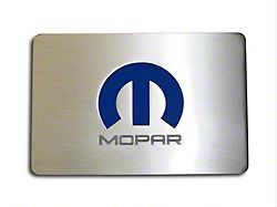 Brushed Fuse Box Cover Top Plate with MOPAR M Logo for ACC Fuse Box Covers; Blue Inlay (06-15 All)