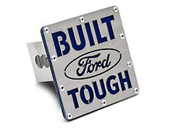 Built Ford Tough Class III Hitch Cover; Brushed Stainless (Universal; Some Adaptation May Be Required)
