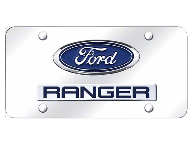 Dual Ford Ranger License Plate; Chrome on Chrome (Universal; Some Adaptation May Be Required)