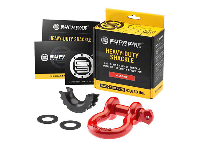 Supreme Suspensions 3/4-Inch D-Ring Shackle; Red