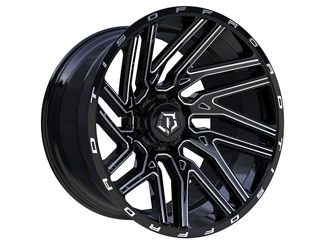 TIS 554BM Gloss Black Milled 6-Lug Wheel; 22x12; -44mm Offset (05-15 Tacoma)