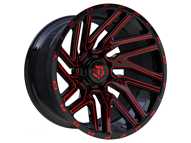 TIS 554BMR Gloss Black with Red Tint Accent 6-Lug Wheel; 22x12; -44mm Offset (05-15 Tacoma)