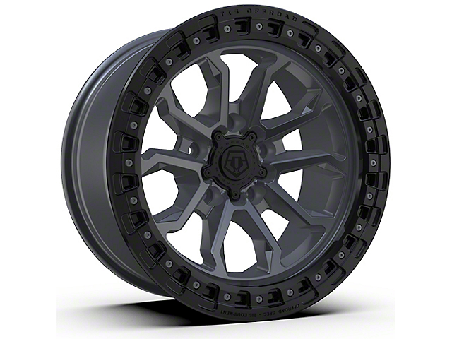TIS 556AB Satin Anthracite with Black Simulated Bead Ring 6-Lug Wheel; 17x9; -12mm Offset (16-21 Tacoma)