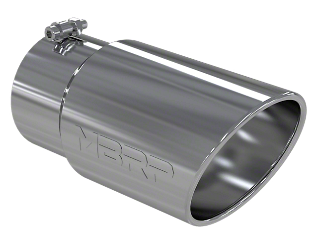 MBRP 6-Inch Angled Rolled End Exhaust Tip; Polished (Fits 5-Inch Tailpipe)