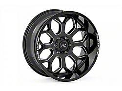 Rough Country One-Piece Series 96 Gloss Black Milled 6-Lug Wheel; 20x10; -19mm Offset (14-18 Silverado 1500)
