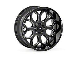 Rough Country One-Piece Series 96 Gloss Black Milled 6-Lug Wheel; 22x10; -19mm Offset (14-18 Silverado 1500)