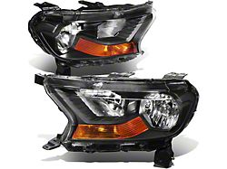 Factory Style Headlights with Amber Corners; Black Housing; Clear Lens (19-21 Ranger w/ Factory Halogen Headlights)