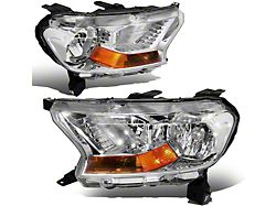 Factory Style Headlights with Amber Corners; Chrome Housing; Clear Lens (19-21 Ranger w/ Factory Halogen Headlights)