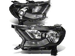 Factory Style Headlights with Clear Corners; Black Housing; Clear Lens (19-21 Ranger w/ Factory Halogen Headlights)