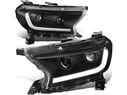 Switchback LED DRL Projector Headlights; Black Housing; Clear Lens (19-21 Ranger w/ Factory Halogen Headlights)