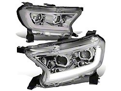 Switchback LED DRL Projector Headlights; Chrome Housing; Clear Lens (19-21 Ranger w/ Factory Halogen Headlights)