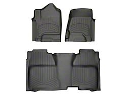 Weathertech Front and Rear Floor Liner HP; Black (14-18 Sierra 1500 Crew Cab)