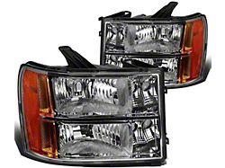 Headlights with Amber Corner Lights; Chrome Housing; Clear Lens (07-13 Sierra 1500)