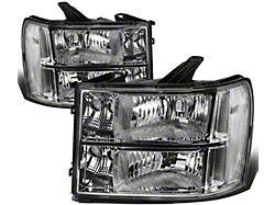 Headlights with Clear Corner Lights; Chrome Housing; Clear Lens (07-13 Sierra 1500)