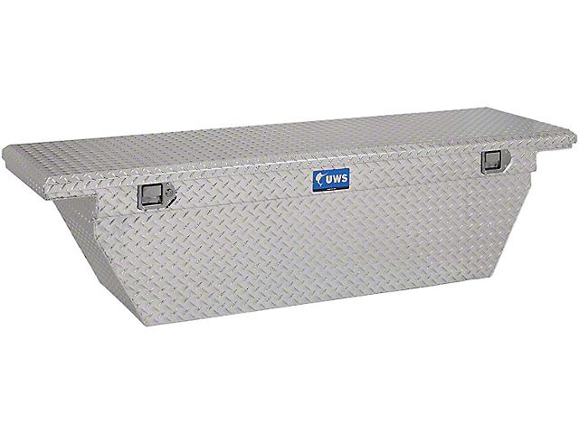 UWS 69-Inch Aluminum Deep Angled Crossover Tool Box; Bright (07-21 Tundra w/ 6.5-Foot & 8-Foot Bed)