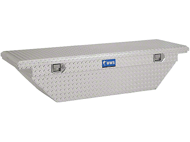 UWS 69-Inch Aluminum Low Profile Angled Crossover Tool Box; Bright (07-21 Tundra w/ 6.5-Foot & 8-Foot Bed)