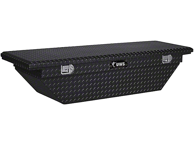 UWS 69-Inch Aluminum Low Profile Angled Crossover Tool Box; Gloss Black (07-21 Tundra w/ 6.5-Foot & 8-Foot Bed)