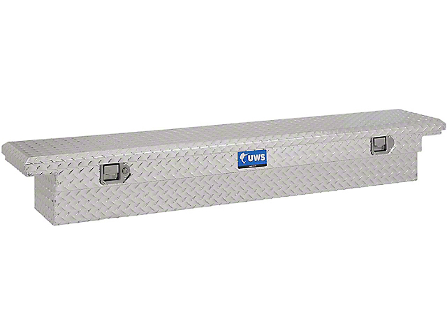UWS 69-Inch Aluminum Slim Low Profile Crossover Tool Box; Bright (07-21 Tundra w/ 6.5-Foot & 8-Foot Bed)