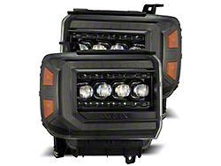 NOVA-Series LED Projector Headlights; Alpha Black Housing; Clear Lens (14-18 Sierra 1500)