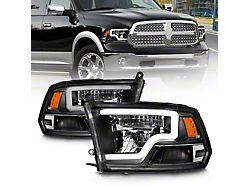 LED Projector Headlights; Black Housing; Clear Lens (09-18 RAM 1500 w/o Factory Quad Headlights)