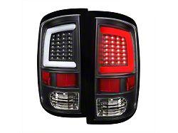 G2 White Bar LED Tail Lights; Matte Black Housing; Clear Lens (09-18 RAM 1500 w/o Factory LED Tail Lights)