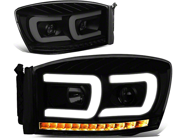Dual LED DRL Projector Headlight with Clear Corner Lights; Black Housing; Smoked Lens (06-08 RAM 1500)