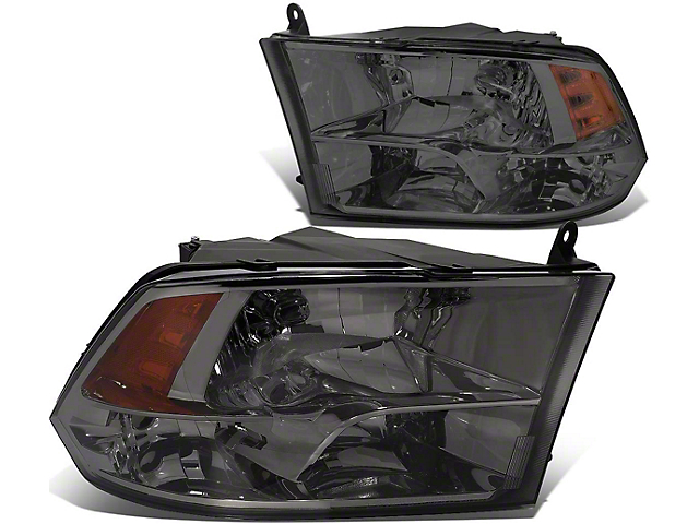 Headlights with Amber Corner Lights; Smoked Housing; Clear Lens (09-18 RAM 1500 w/o Factory Projector Headlights)