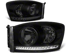 LED DRL Headlights with Clear Corner Lights; Black Housing; Smoked Lens (06-09 RAM 2500)