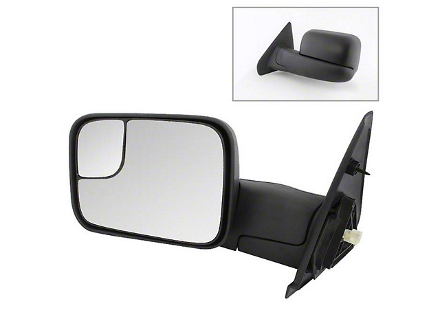 Powered Heated Manual Extended Mirror; Driver Side (03-09 RAM 2500)