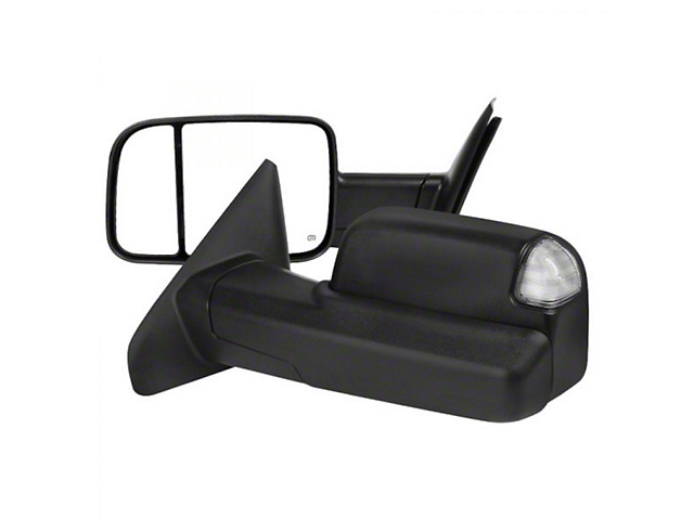 Powered Heated Towing Mirrors with Clear LED Turn Signals; Black (03-09 RAM 2500)