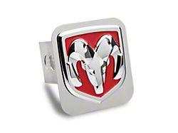 RAM Head Hitch Cover; Chrome/Red Fill (Universal; Some Adaptation May Be Required)