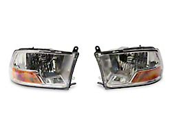 Axial OEM Style Replacement Headlights with Single Bulb; Chrome Housing; Clear Lens (10-18 RAM 2500 w/o Factory Projector Headlights)