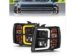 Sequential Light Bar Projector Headlights; Black Housing; Clear Lens (07-13 Silverado 1500)