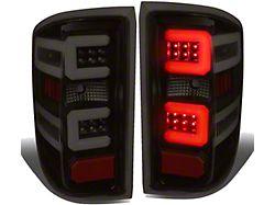 Dual C-Bar LED Tail Lights; Black Housing; Smoked Lens (14-18 Sierra 1500 w/o Factory LED Tail Lights)