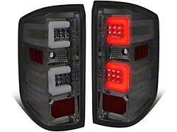 Dual C-Bar LED Tail Lights; Chrome Housing; Smoked Lens (14-18 Sierra 1500 w/o Factory LED Tail Lights)