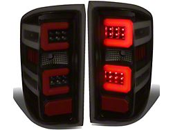 Dual Red C-Bar LED Tail Lights; Black Housing; Smoked Lens (14-18 Sierra 1500 w/o Factory LED Tail Lights)